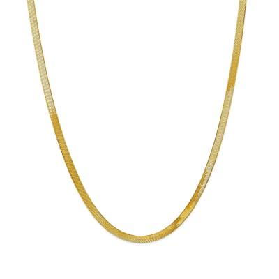 14kt Yellow Gold 4mm Herringbone Necklace
