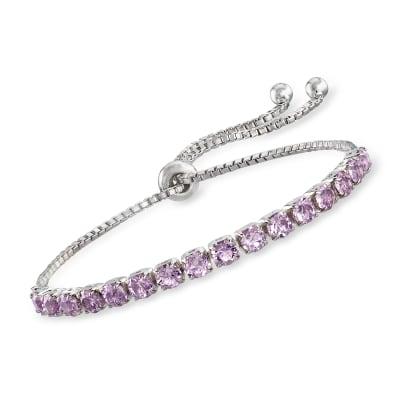 Swarovski Crystal Purple Bolo Bracelet in Sterling Silver