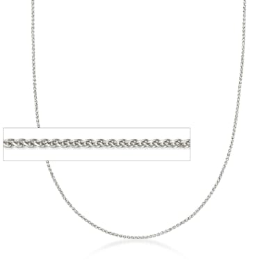 1mm 14kt White Gold Wheat Chain Necklace