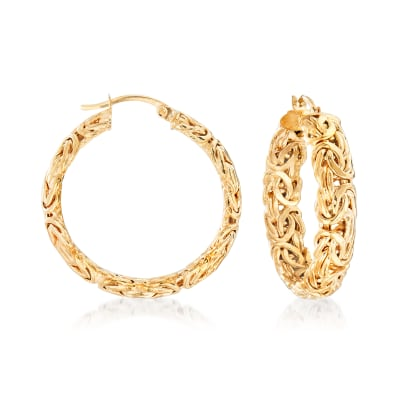 18kt Gold Over Sterling Medium Byzantine Hoop Earrings