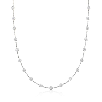 10.00 ct. t.w. Bezel-Set CZ Station Necklace in Sterling Silver
