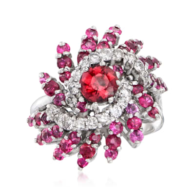 C. 1970 Vintage .80 Carat Rhodolite Garnet and 1.75 ct. t.w. Ruby Ring with .60 ct. t.w. Diamonds in 14kt White Gold