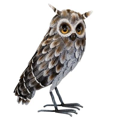 Regal Grey Horned Owl Garden Statue