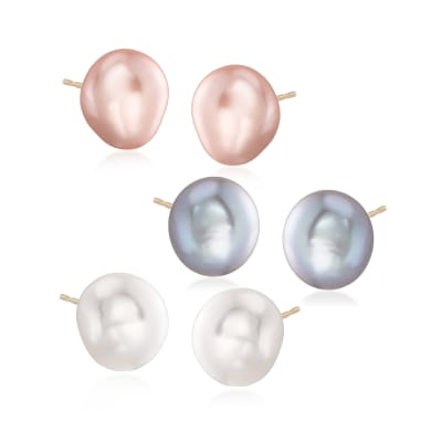10-11mm Multicolored Cultured Pearl Jewelry Set: Three Pairs of Stud Earrings in 14kt Yellow Gold