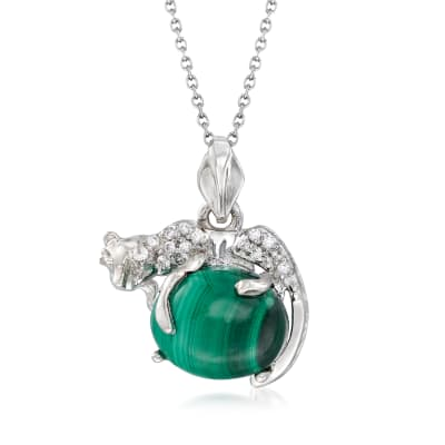 Malachite and .10 ct. t.w. White Zircon Panther Pendant Necklace in Sterling Silver