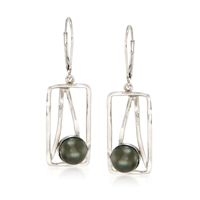 8mm Black Cultured Tahitian Pearl and Open-Space Sterling Silver Rectangle Drop Earrings