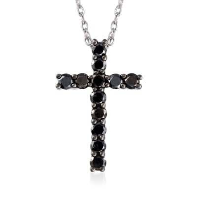 .50 ct. t.w. Black Diamond Cross Necklace in Sterling Silver