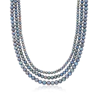5-8mm Black Cultured Pearl Multi-Strand Necklace with Sterling Silver