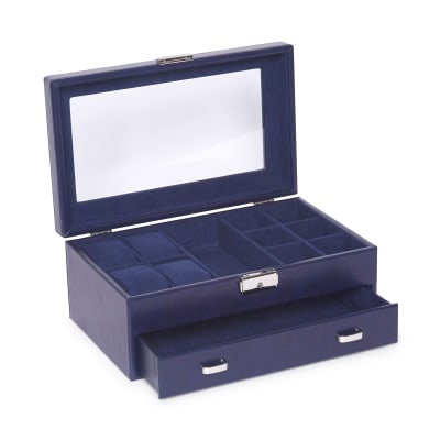 "Brouk & Co. ""Edwin Navy"" Faux Leather Jewelry Box"
