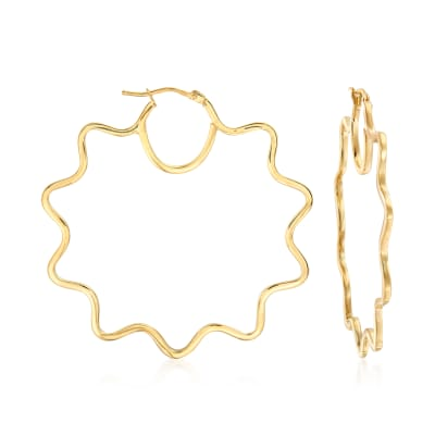 Italian 14kt Yellow Gold Wavy Hoop Earrings