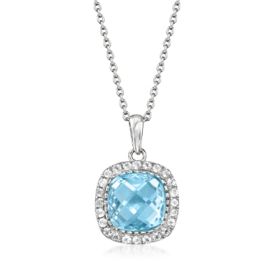 7.50 Carat Sky Blue Topaz and .90 ct. t.w. White Topaz Pendant Necklace in Sterling Silver