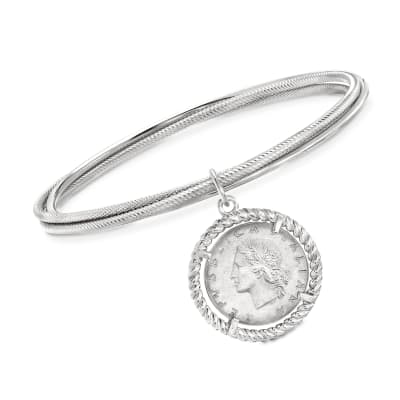 Italian Sterling Silver Lira Coin Triple Bangle Bracelet