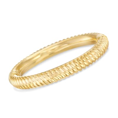 Italian Andiamo 14kt Yellow Gold Over Resin Ribbed Bangle Bracelet