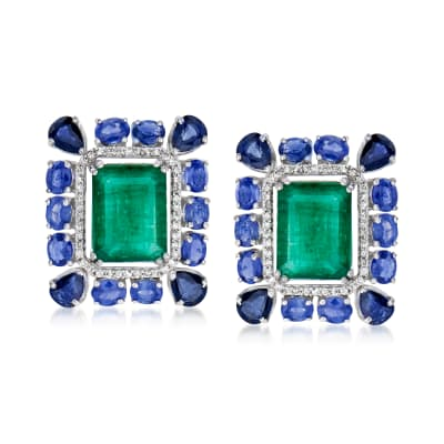 8.75 ct. t.w. Emerald and 7.70 ct. t.w. Sapphire Earrings with .43 ct. t.w. Diamond in 18kt White Gold