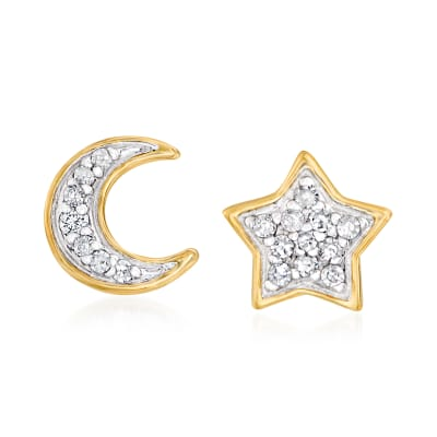 Diamond-Accented Moon and Star Earrings in 14kt Yellow Gold