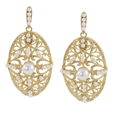 1.5-5.5mm Cultured Pearl and .30 ct. t.w. Diamond Oval Drop Earrings in 14kt Yellow Gold