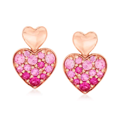 .60 ct. t.w. Pink Sapphire Heart Earrings in 14kt Rose Gold