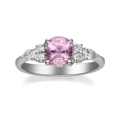 1.60 Carat Pink Sapphire Ring with .29 ct. t.w. Diamonds in 18kt White Gold