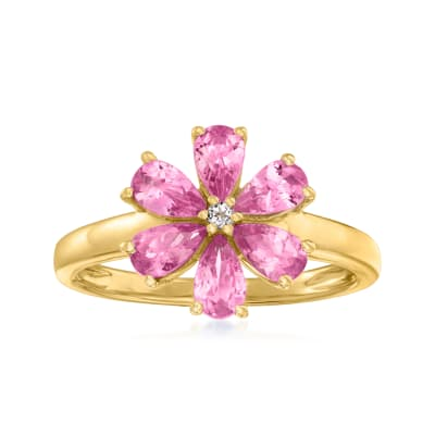 1.30 ct. t.w. Pink Tourmaline Flower Ring with White Topaz Accent in 18kt Gold Over Sterling