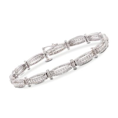 2.92 ct. t.w. Diamond Triple-Bar Bracelet in 14kt White Gold
