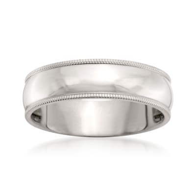 Men's 6mm 14kt White Gold Milgrain Wedding Ring