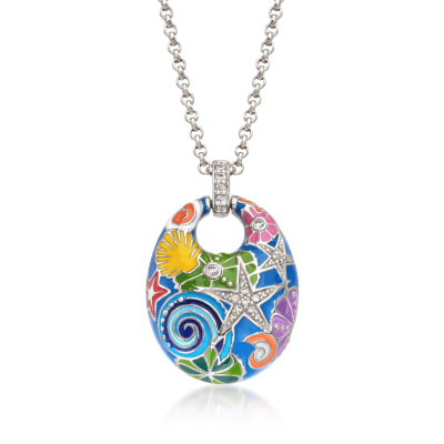 "Belle Etoile ""Starfish"" Blue and Multicolored Enamel Pendant with CZs in Sterling Silver"