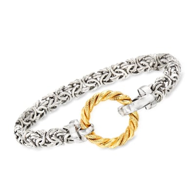 Sterling Silver Byzantine Bracelet with 14kt Yellow Gold Open Circle
