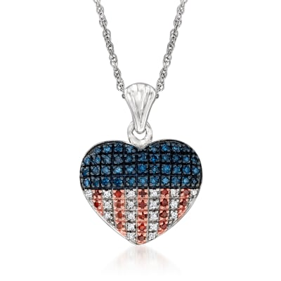 .33 ct. t.w. Red, White and Blue Diamond American Flag Heart Pendant Necklace in Sterling Silver