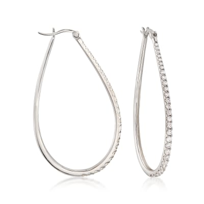 1.80 ct. t.w. CZ Graduated Teardrop Hoop Earrings in Sterling Silver