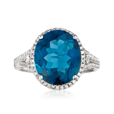 7.00 Carat London Blue Topaz and .32 ct. t.w. Diamond in 14kt White Gold