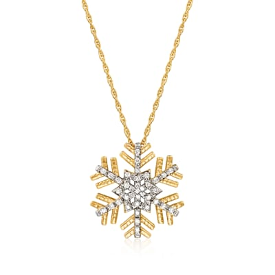 .15 ct. t.w. Diamond Snowflake Pendant Necklace in 18kt Gold Over Sterling