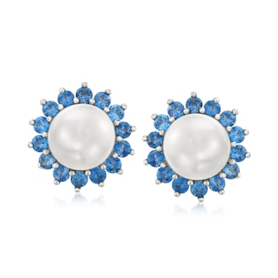 8-8.5mm Cultured Pearl and 1.20 ct. t.w. London Blue Topaz Earrings in Sterling Silver