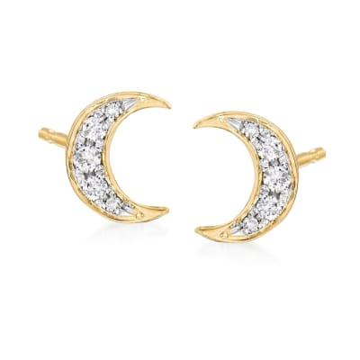 .12 ct. t.w. Diamond Moon Stud Earrings in 18kt Gold Over Sterling