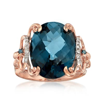 10.00 Carat London Blue Topaz Ring with Blue and White Diamond Accents in 14kt Rose Gold