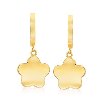 14kt Yellow Gold Flower Drop Earrings