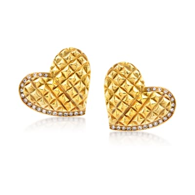 C. 1980 Vintage .50 ct. t.w. Diamond Heart Clip-On Earrings in 18kt Yellow Gold