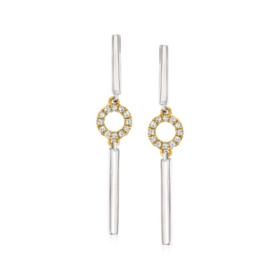 .10 ct. t.w. Diamond Bar and Circle Drop Earrings in Sterling Silver and 14kt Yellow Gold