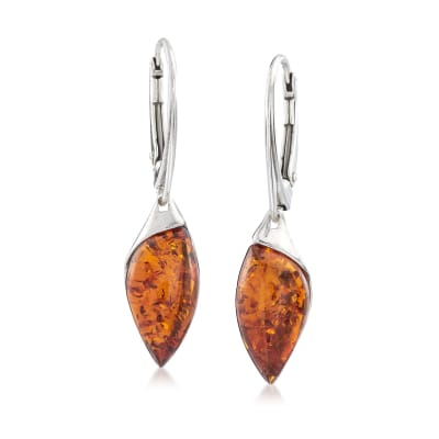 Marquise Amber Drop Earrings in Sterling Silver