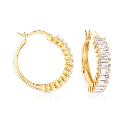 4.00 ct. t.w. CZ Baguette Hoop Earrings in 18kt Gold Over Sterling