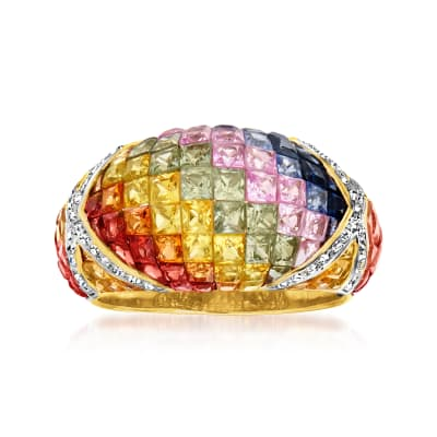 7.45 ct. t.w. Multicolored Sapphire and .27 ct. t.w. Diamond Ring in 14kt Yellow Gold