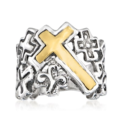 Sterling Silver and 14kt Yellow Gold Multi-Cross Ring