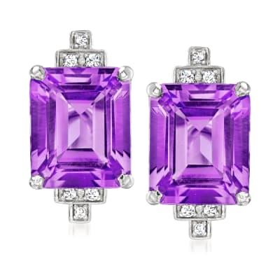 "Andrea Candela ""Gatsby"" 10.00 ct. t.w. Amethyst Earrings with .10 ct. t.w. Diamonds in Sterling Silver"