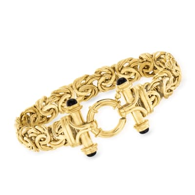 18kt Gold Over Sterling Byzantine Bracelet with Black Onyx