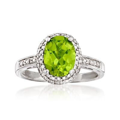 1.90 Carat Peridot and Diamond-Accented Ring in Sterling Silver