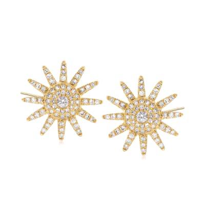 .45 ct. t.w. Diamond Sunburst Earrings in 18kt Yellow Gold
