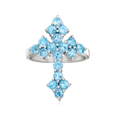 2.00 ct. t.w. Swiss Blue Topaz Cross Ring in Sterling Silver