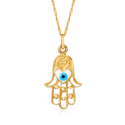 Multicolored Enamel Hamsa Pendant Necklace in 14kt Yellow Gold