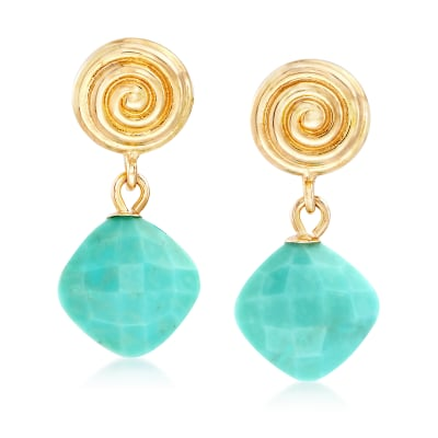 Stabilized Turquoise and 14kt Yellow Gold Drop Earrings
