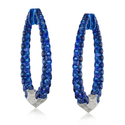 40.00 ct. t.w. Sapphire and 2.95 ct. t.w. Diamond Inside-Outside Hoop Earrings in 18kt White Gold with Blue Rhodium