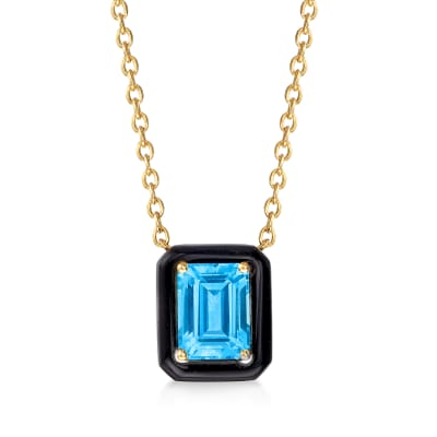 Black Onyx and 2.10 Carat Swiss Blue Topaz Necklace in 18kt Gold Over Sterling